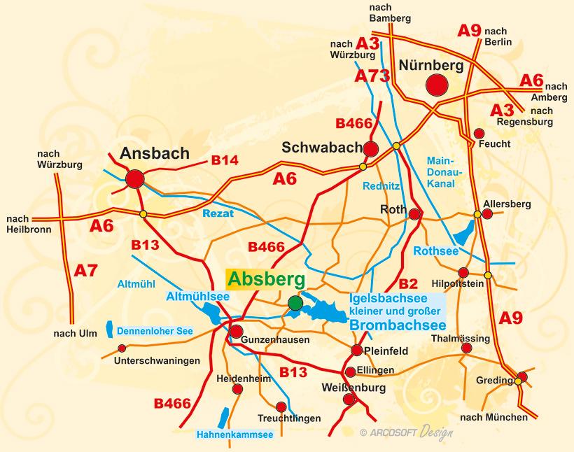 brombachsee karte Ferienhof Hofer   Fränkisches Seenland   Brombachsee